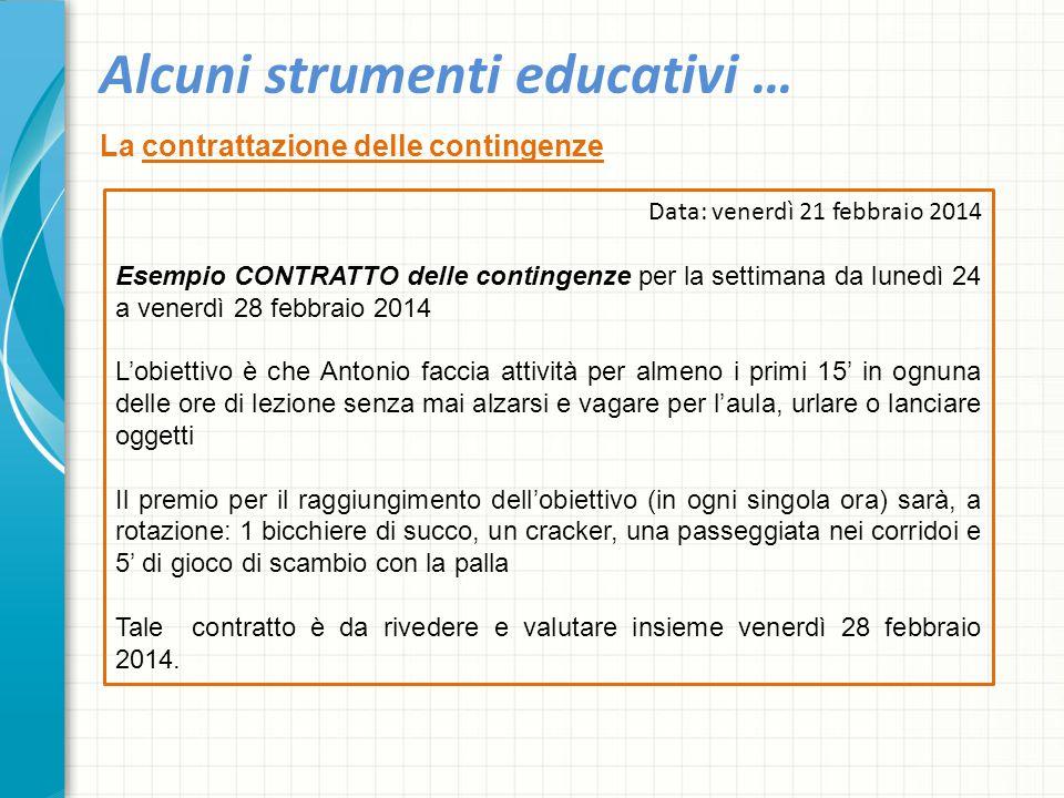 Alcuni strumenti educativi … La contrattazione delle contingenze Data: venerdì 21 febbraio 2014 Esempio CONTRATTO delle contingenze per la settimana d