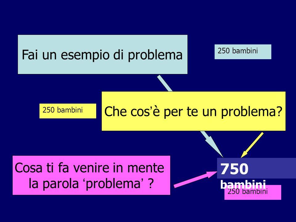 Fai un esempio di problema Cosa ti fa venire in mente la parola ' problema ' ? 250 bambini 750 bambini Che cos ' è per te un problema?