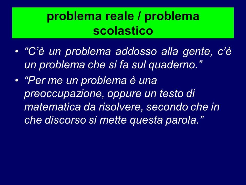 """problema reale / problema scolastico """"C'è un problema addosso alla gente, c'è un problema che si fa sul quaderno."""" """"Per me un problema è una preoccupa"""