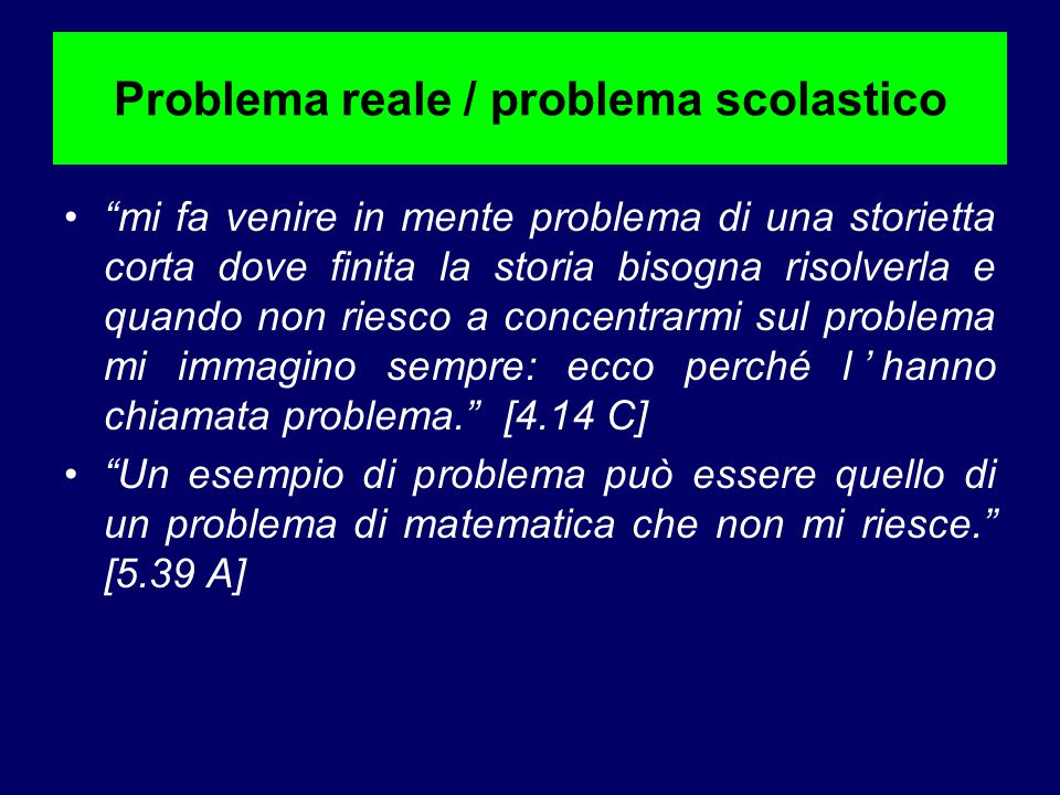 """Problema reale / problema scolastico """"mi fa venire in mente problema di una storietta corta dove finita la storia bisogna risolverla e quando non ries"""