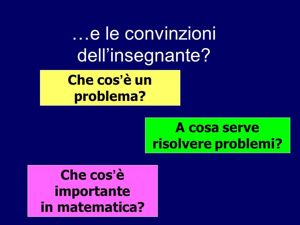…e le convinzioni dell'insegnante? Che cos ' è un problema? A cosa serve risolvere problemi? Che cos ' è importante in matematica?