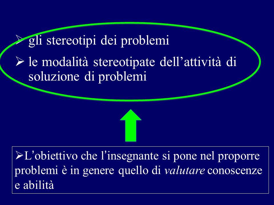  L'obiettivo che l'insegnante si pone nel proporre problemi è in genere quello di valutare conoscenze e abilità  gli stereotipi dei problemi  le mo
