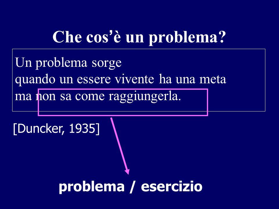 Che cos ' è un problema? Un problema sorge quando un essere vivente ha una meta ma non sa come raggiungerla. problema / esercizio [Duncker, 1935]