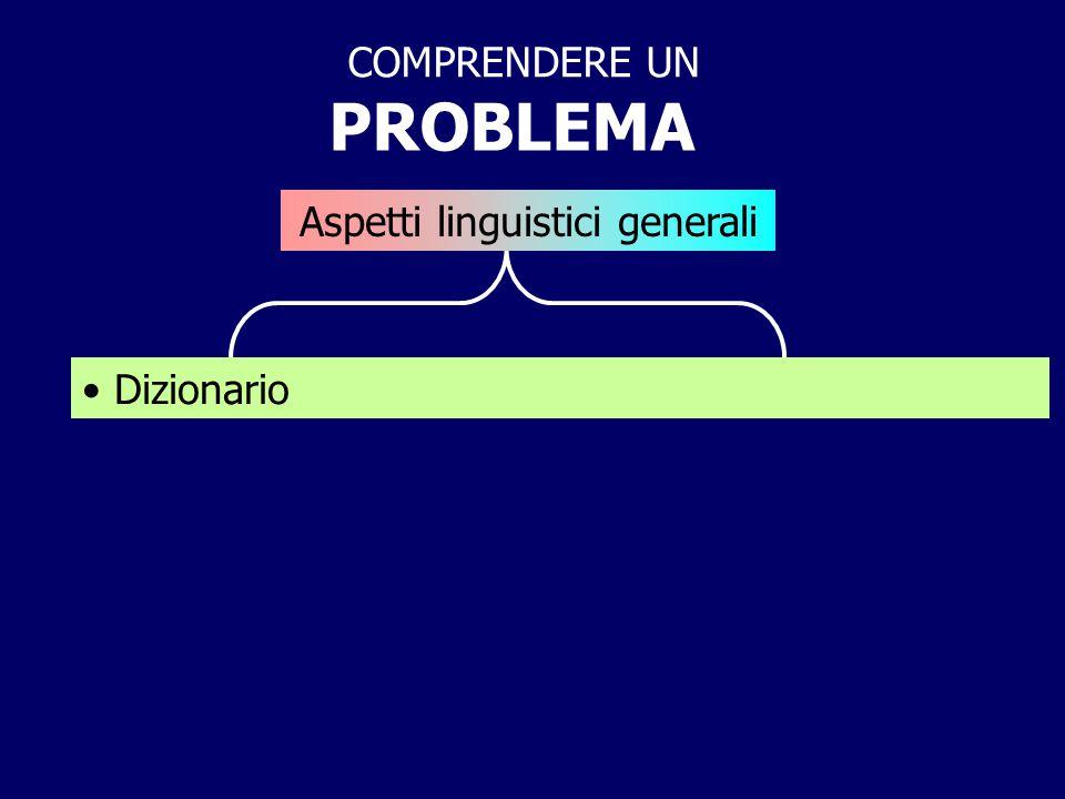 PROBLEMA COMPRENDERE UN Aspetti linguistici generali Dizionario