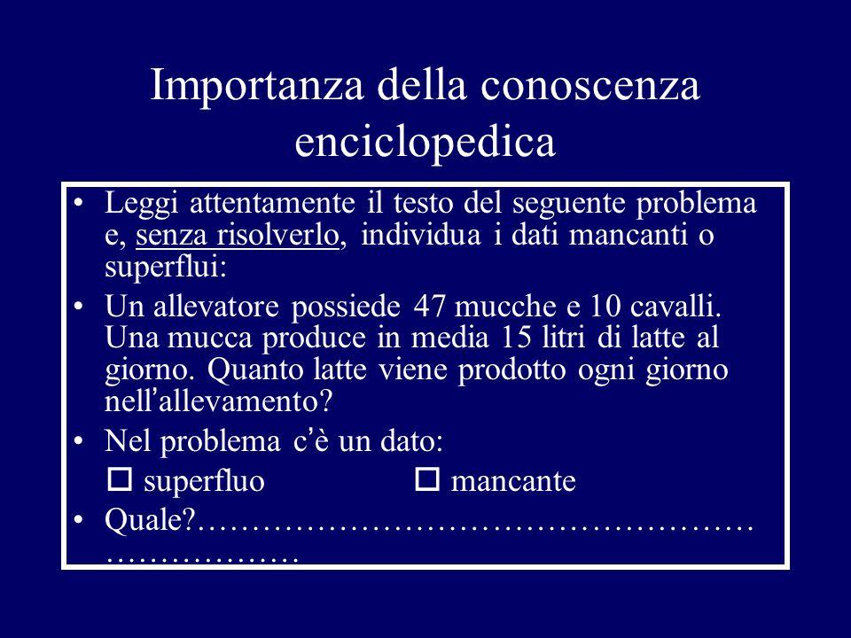 Importanza della conoscenza enciclopedica Leggi attentamente il testo del seguente problema e, senza risolverlo, individua i dati mancanti o superflui