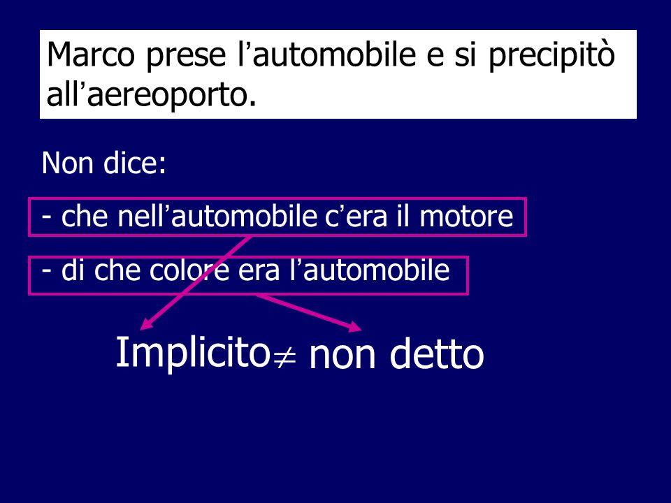  La comprensione del testo: Dizionario I legami fra le varie parti del testo Enciclopedia Implicito  non detto Marco prese l ' automobile e si preci
