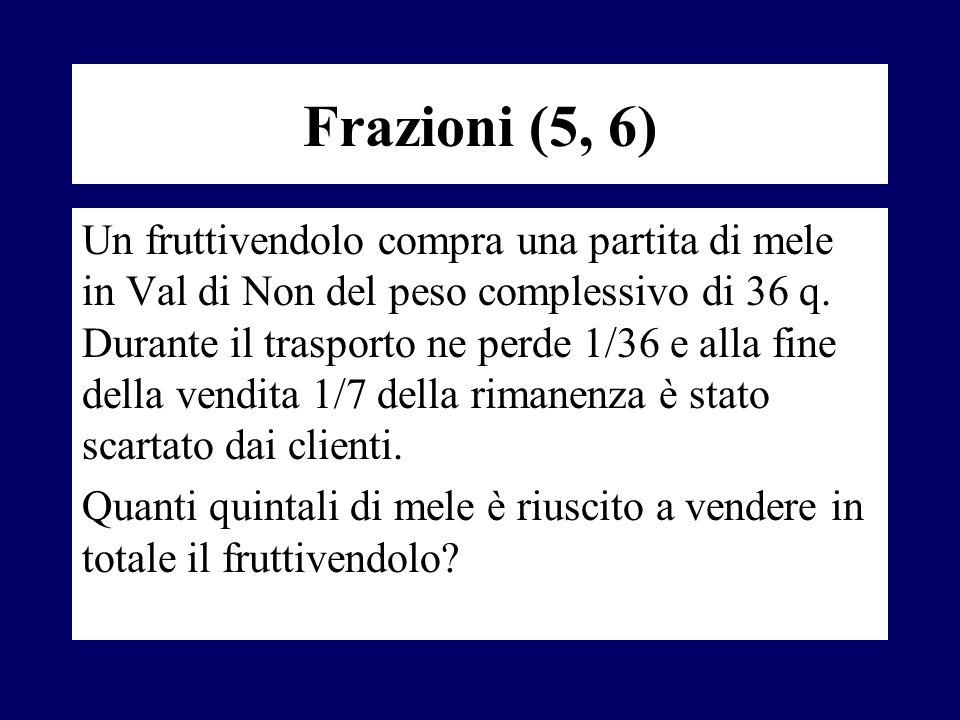 Frazioni (5, 6) Un fruttivendolo compra una partita di mele in Val di Non del peso complessivo di 36 q. Durante il trasporto ne perde 1/36 e alla fine