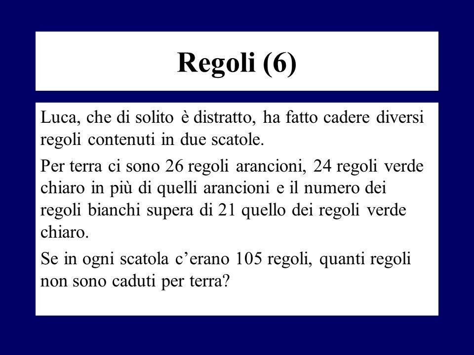 Regoli (6) Luca, che di solito è distratto, ha fatto cadere diversi regoli contenuti in due scatole. Per terra ci sono 26 regoli arancioni, 24 regoli