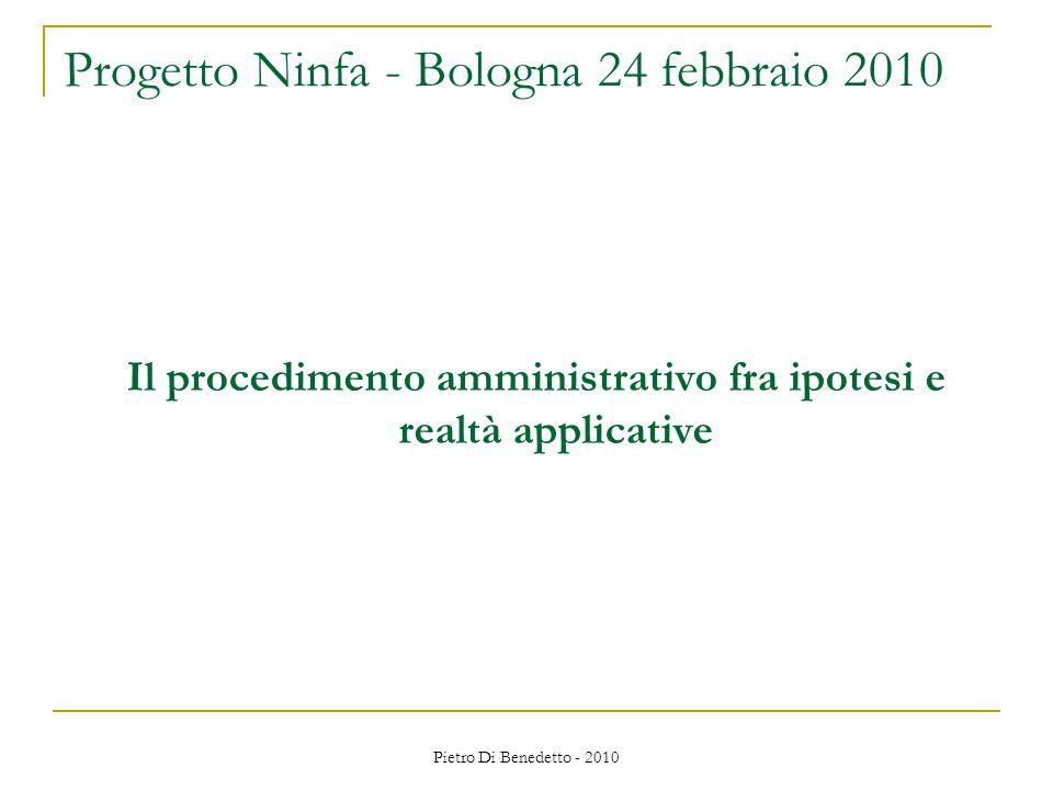 Pietro Di Benedetto - 2010 Il procedimento amministrativo fra ipotesi e realtà applicative Progetto Ninfa - Bologna 24 febbraio 2010