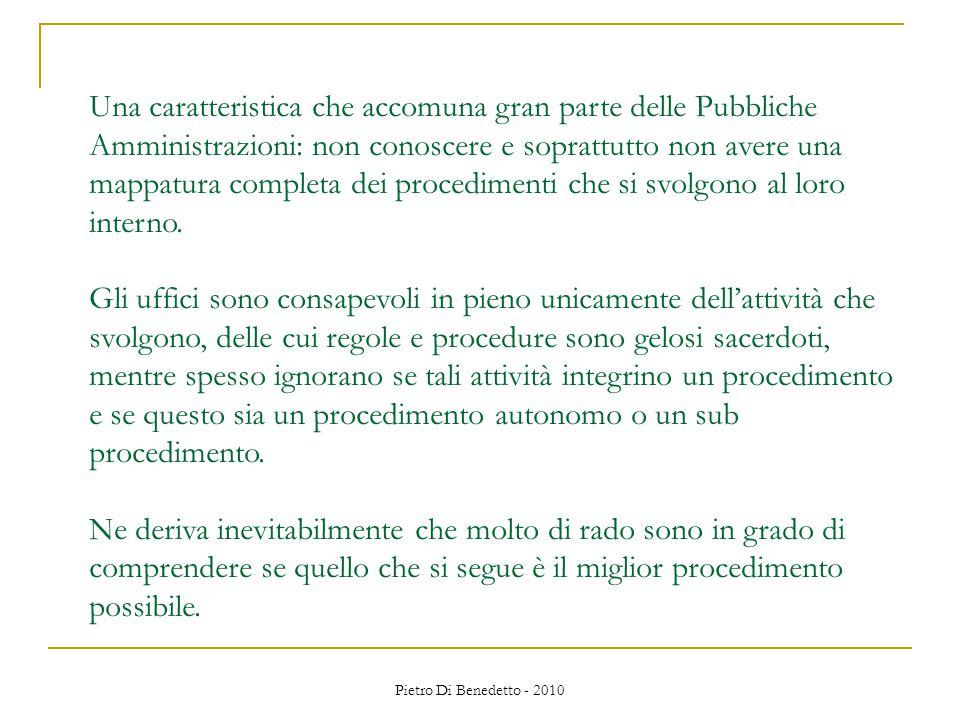 Pietro Di Benedetto - 2010 Una caratteristica che accomuna gran parte delle Pubbliche Amministrazioni: non conoscere e soprattutto non avere una mappatura completa dei procedimenti che si svolgono al loro interno.