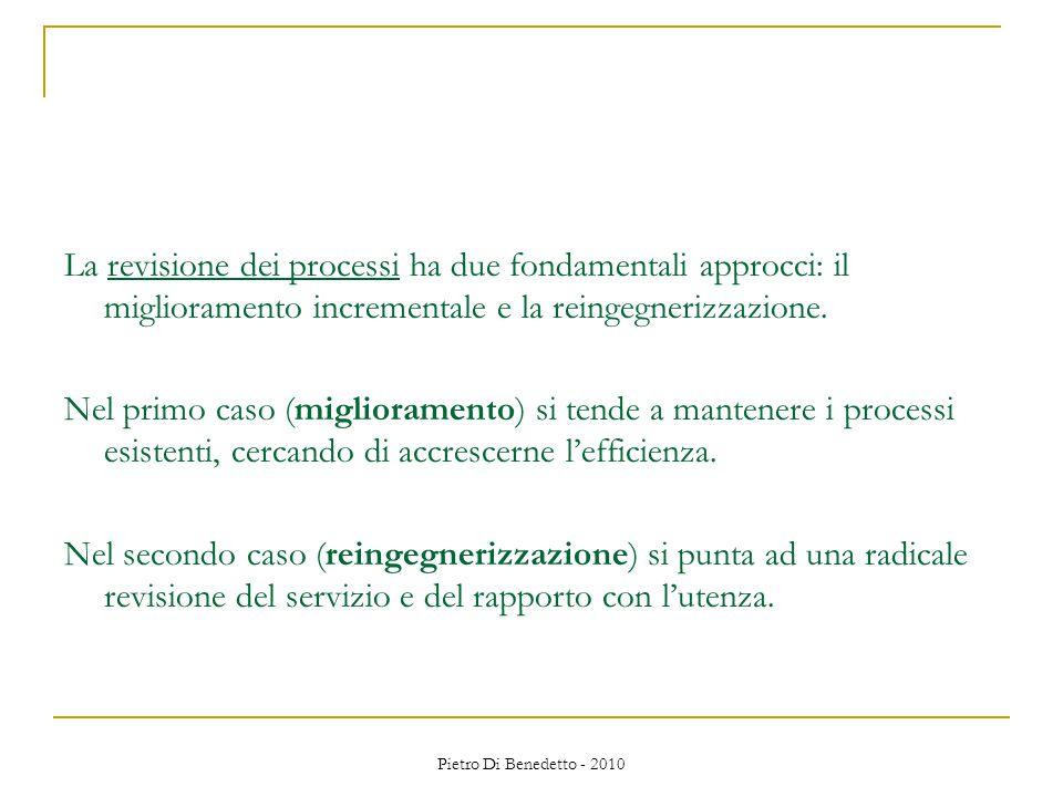 Pietro Di Benedetto - 2010 La revisione dei processi ha due fondamentali approcci: il miglioramento incrementale e la reingegnerizzazione.