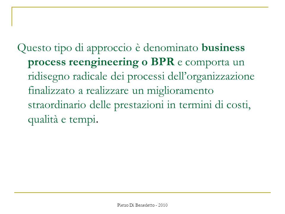 Pietro Di Benedetto - 2010 Questo tipo di approccio è denominato business process reengineering o BPR e comporta un ridisegno radicale dei processi dell'organizzazione finalizzato a realizzare un miglioramento straordinario delle prestazioni in termini di costi, qualità e tempi.