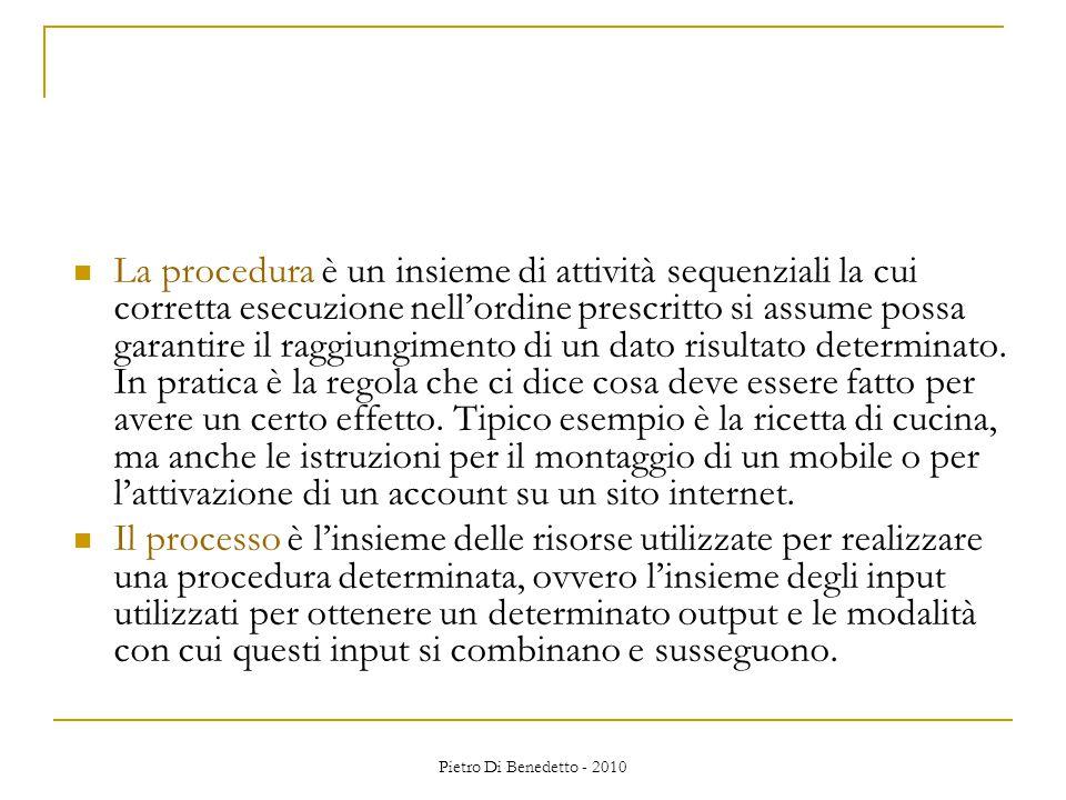 Pietro Di Benedetto - 2010 La procedura è un insieme di attività sequenziali la cui corretta esecuzione nell'ordine prescritto si assume possa garantire il raggiungimento di un dato risultato determinato.