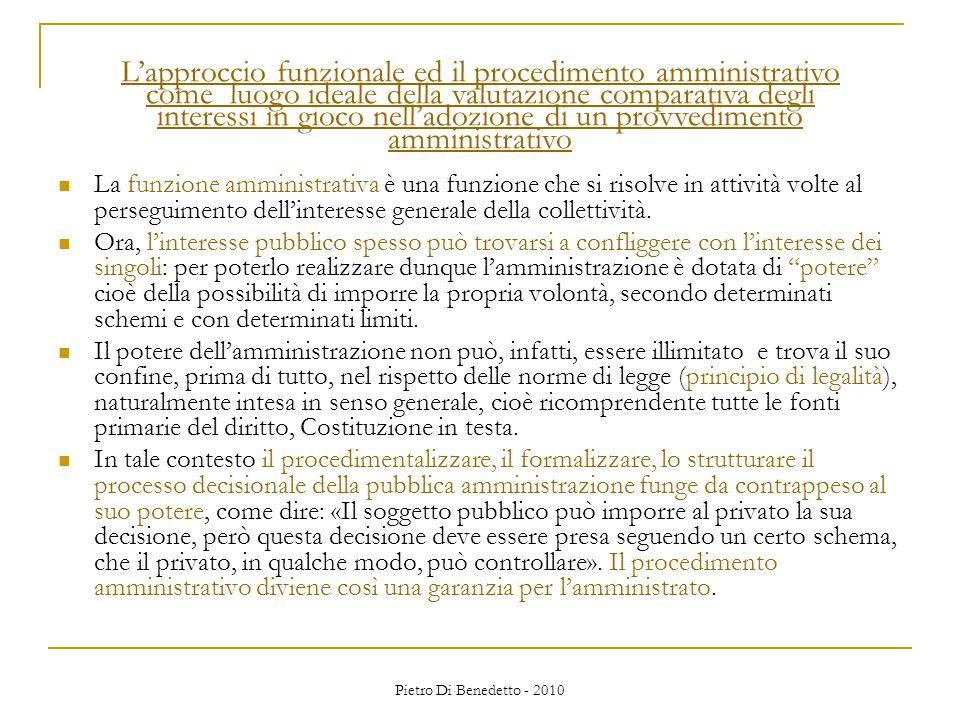 Pietro Di Benedetto - 2010 La funzione amministrativa è una funzione che si risolve in attività volte al perseguimento dell'interesse generale della collettività.