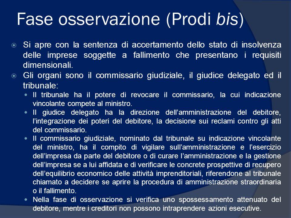 Fase osservazione (Prodi bis)  Si apre con la sentenza di accertamento dello stato di insolvenza delle imprese soggette a fallimento che presentano i requisiti dimensionali.