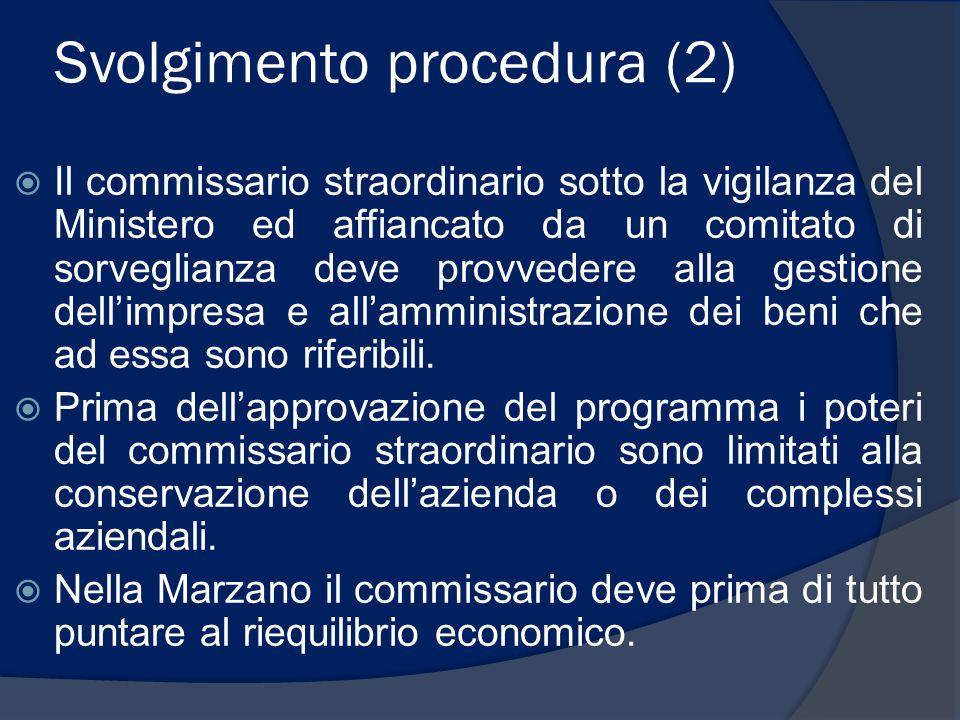 Svolgimento procedura (2)  Il commissario straordinario sotto la vigilanza del Ministero ed affiancato da un comitato di sorveglianza deve provvedere alla gestione dell'impresa e all'amministrazione dei beni che ad essa sono riferibili.