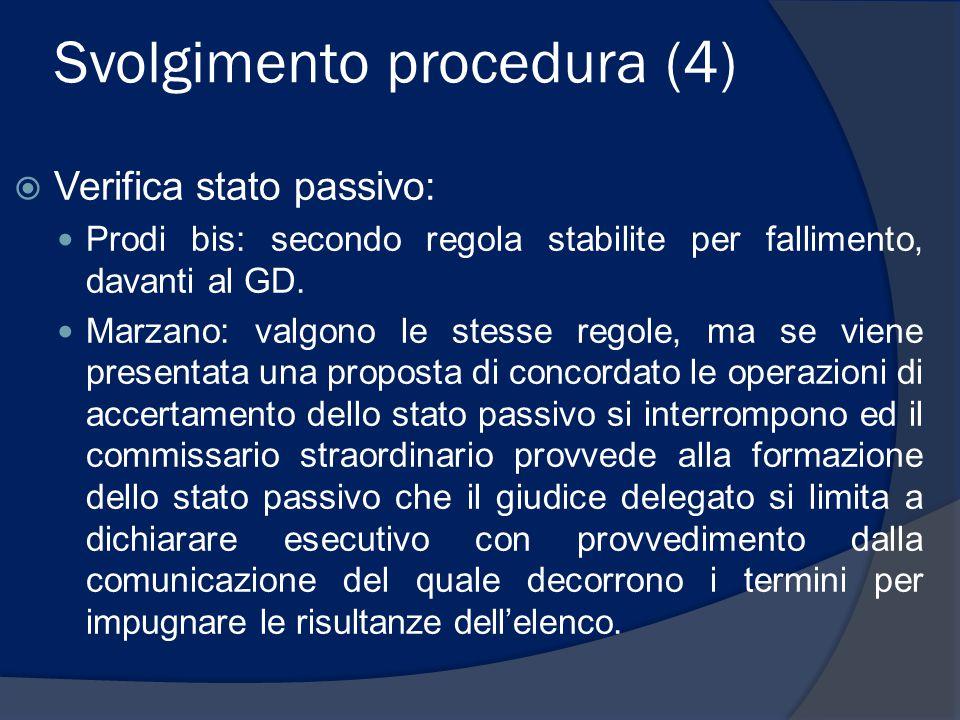 Svolgimento procedura (4)  Verifica stato passivo: Prodi bis: secondo regola stabilite per fallimento, davanti al GD. Marzano: valgono le stesse rego