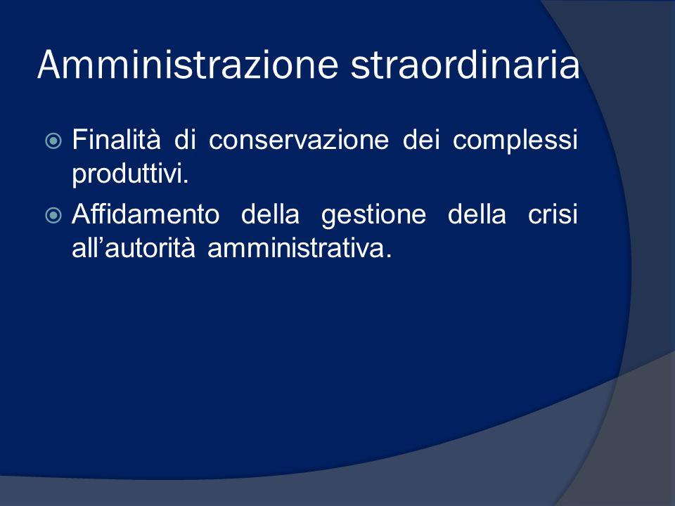 Amministrazione straordinaria  Finalità di conservazione dei complessi produttivi.  Affidamento della gestione della crisi all'autorità amministrati