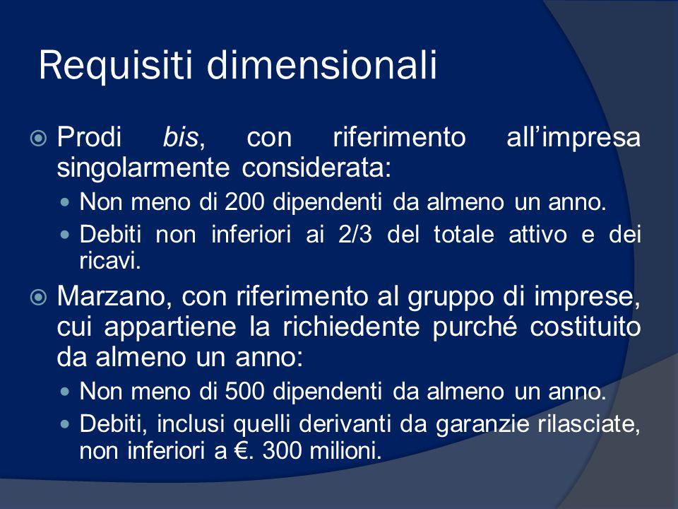 Requisiti dimensionali  Prodi bis, con riferimento all'impresa singolarmente considerata: Non meno di 200 dipendenti da almeno un anno. Debiti non in