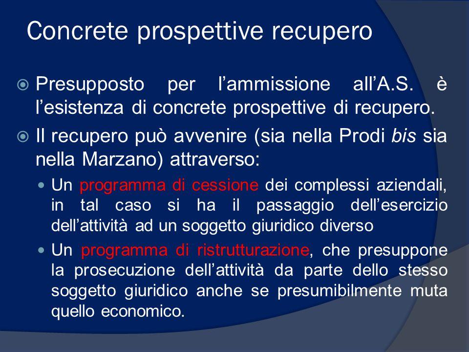 Concrete prospettive recupero  Presupposto per l'ammissione all'A.S. è l'esistenza di concrete prospettive di recupero.  Il recupero può avvenire (s
