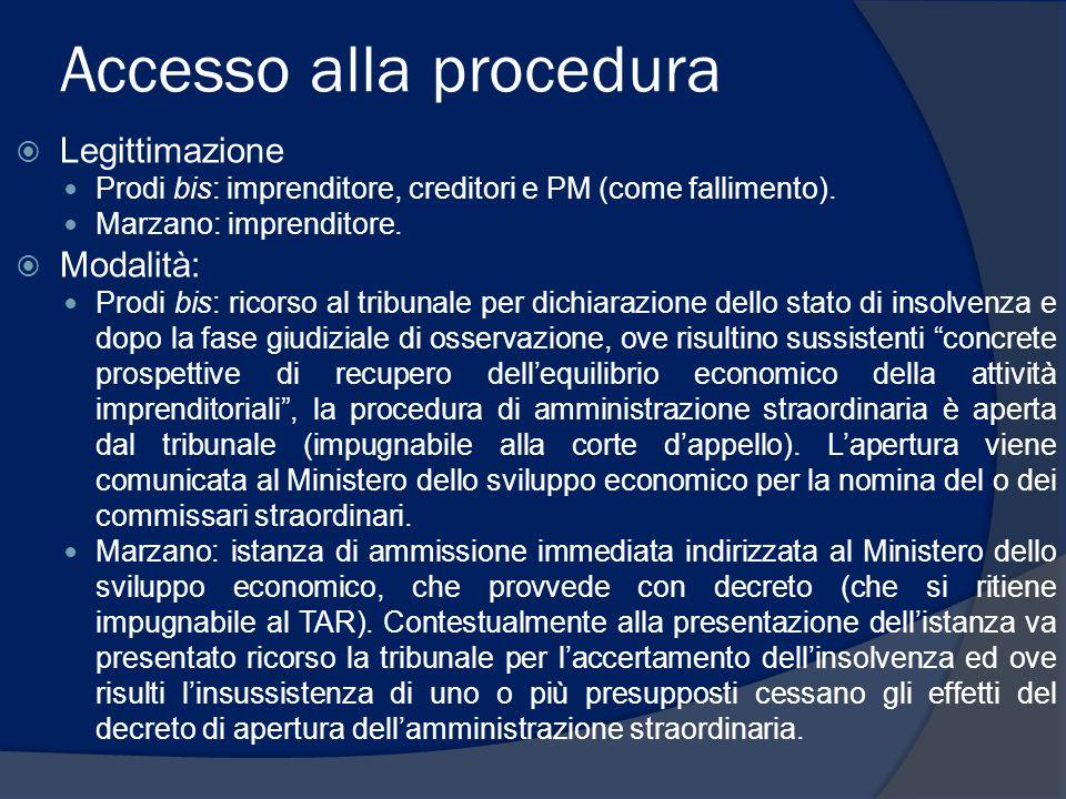 Accesso alla procedura  Legittimazione Prodi bis: imprenditore, creditori e PM (come fallimento). Marzano: imprenditore.  Modalità: Prodi bis: ricor
