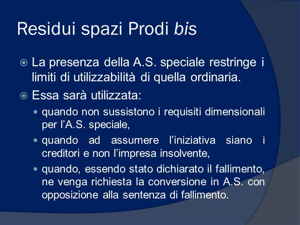 Residui spazi Prodi bis  La presenza della A.S. speciale restringe i limiti di utilizzabilità di quella ordinaria.  Essa sarà utilizzata: quando non