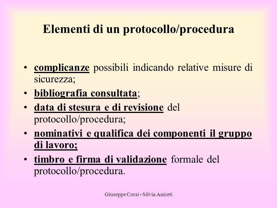 Giuseppe Corsi - Silvia Aniceti complicanze possibili indicando relative misure di sicurezza; bibliografia consultata; data di stesura e di revisione