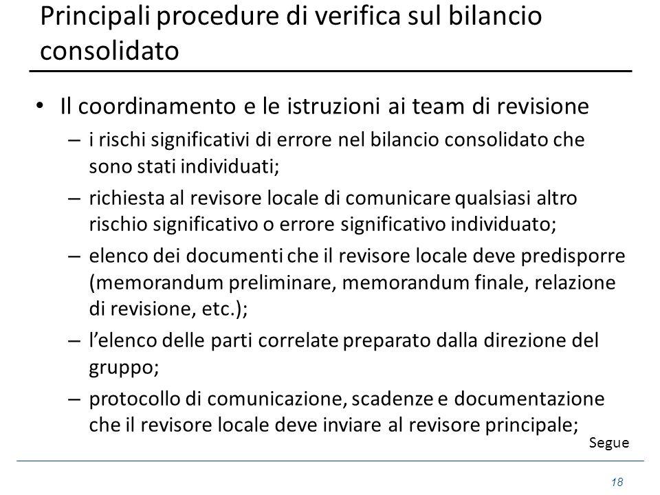 Principali procedure di verifica sul bilancio consolidato Il coordinamento e le istruzioni ai team di revisione – i rischi significativi di errore nel