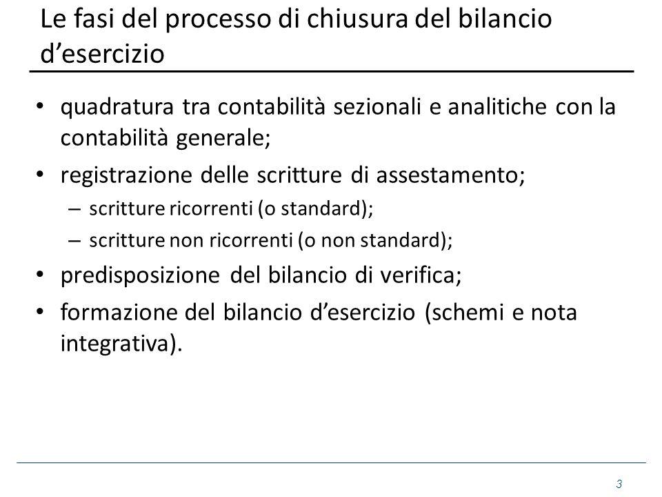 Le fasi del processo di chiusura del bilancio d'esercizio quadratura tra contabilità sezionali e analitiche con la contabilità generale; registrazione