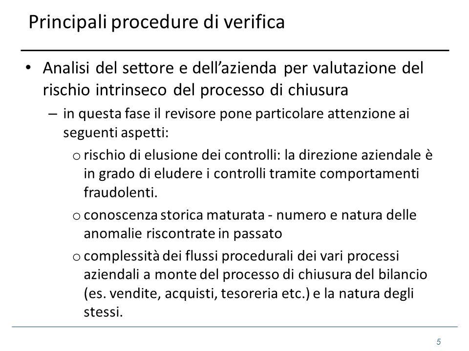 Principali procedure di verifica Analisi del settore e dell'azienda per valutazione del rischio intrinseco del processo di chiusura – in questa fase i
