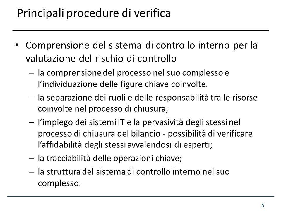 Principali procedure di verifica Comprensione del sistema di controllo interno per la valutazione del rischio di controllo – la comprensione del proce