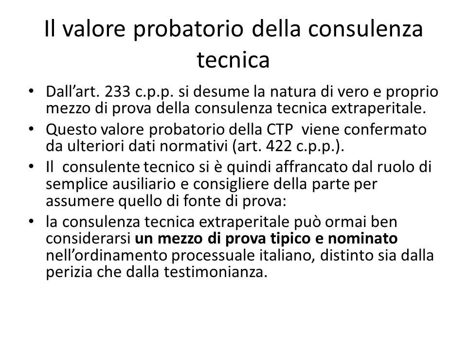 Il valore probatorio della consulenza tecnica Dall'art.