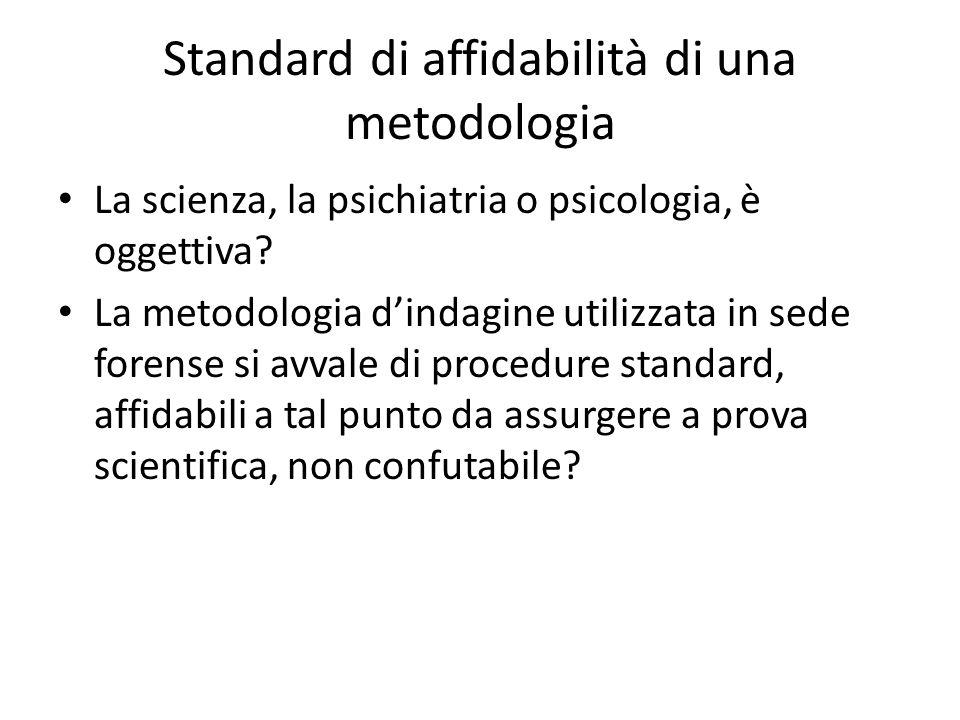 Standard di affidabilità di una metodologia La scienza, la psichiatria o psicologia, è oggettiva.