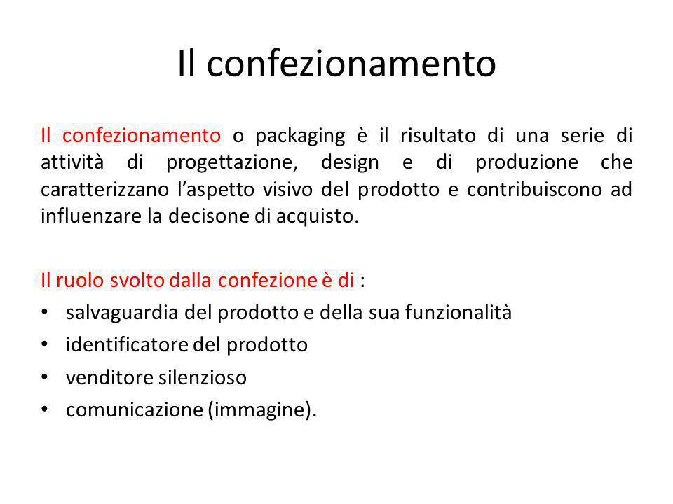 Il confezionamento Il confezionamento o packaging è il risultato di una serie di attività di progettazione, design e di produzione che caratterizzano