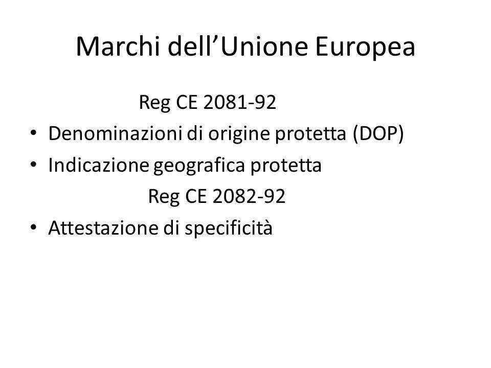 Marchi dell'Unione Europea Reg CE 2081-92 Denominazioni di origine protetta (DOP) Indicazione geografica protetta Reg CE 2082-92 Attestazione di speci