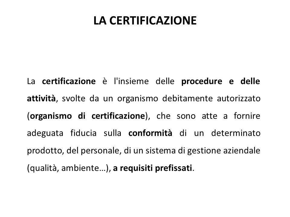 La certificazione è l'insieme delle procedure e delle attività, svolte da un organismo debitamente autorizzato (organismo di certificazione), che sono