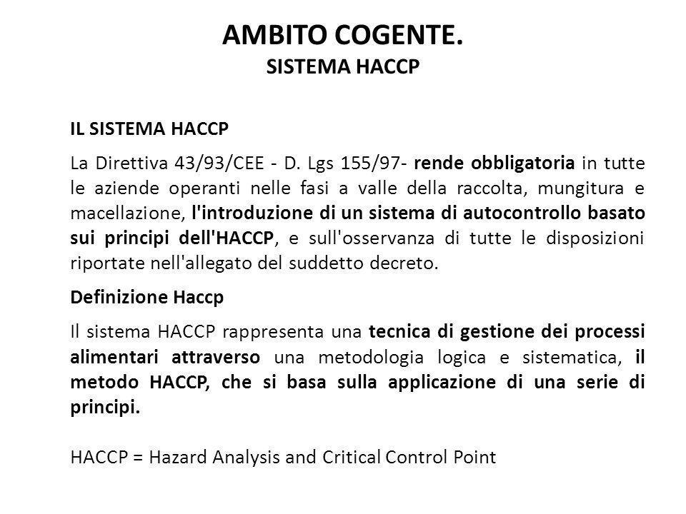 IL SISTEMA HACCP La Direttiva 43/93/CEE - D. Lgs 155/97- rende obbligatoria in tutte le aziende operanti nelle fasi a valle della raccolta, mungitura