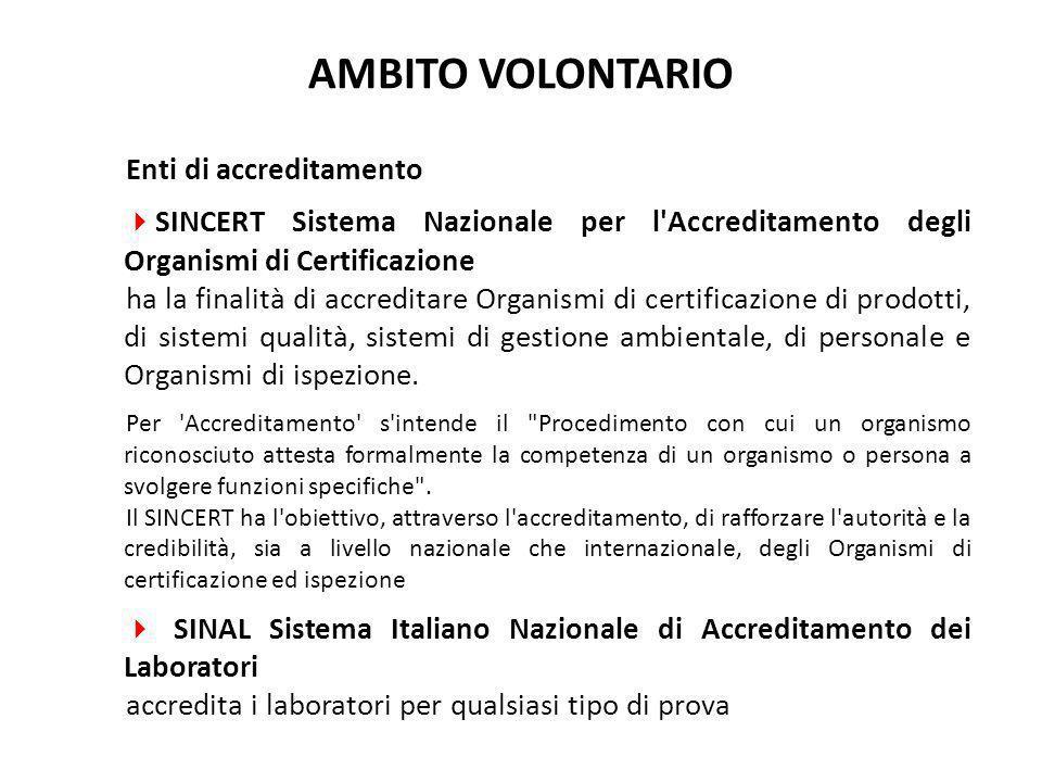Enti di accreditamento  SINCERT Sistema Nazionale per l'Accreditamento degli Organismi di Certificazione ha la finalità di accreditare Organismi di c