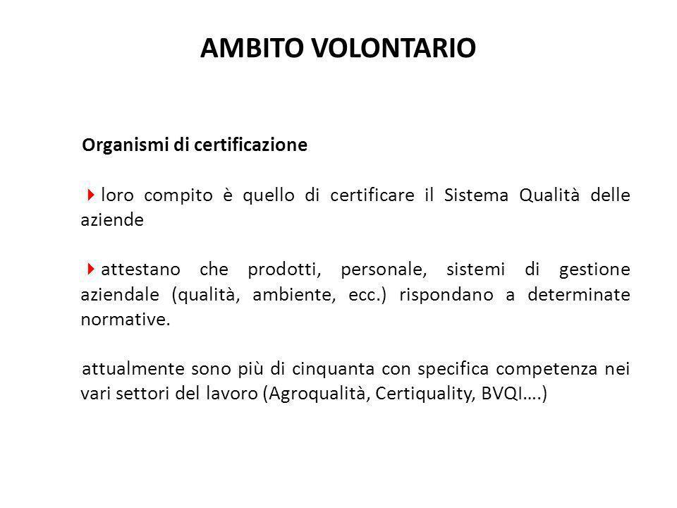 Organismi di certificazione  loro compito è quello di certificare il Sistema Qualità delle aziende  attestano che prodotti, personale, sistemi di ge