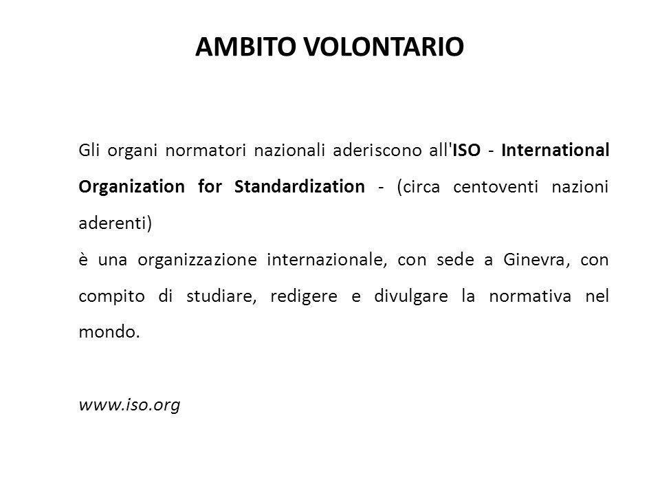 Gli organi normatori nazionali aderiscono all'ISO - International Organization for Standardization - (circa centoventi nazioni aderenti) è una organiz