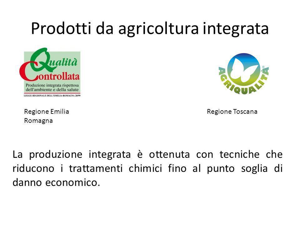 Prodotti da agricoltura integrata Regione Emilia Romagna Regione Toscana La produzione integrata è ottenuta con tecniche che riducono i trattamenti ch