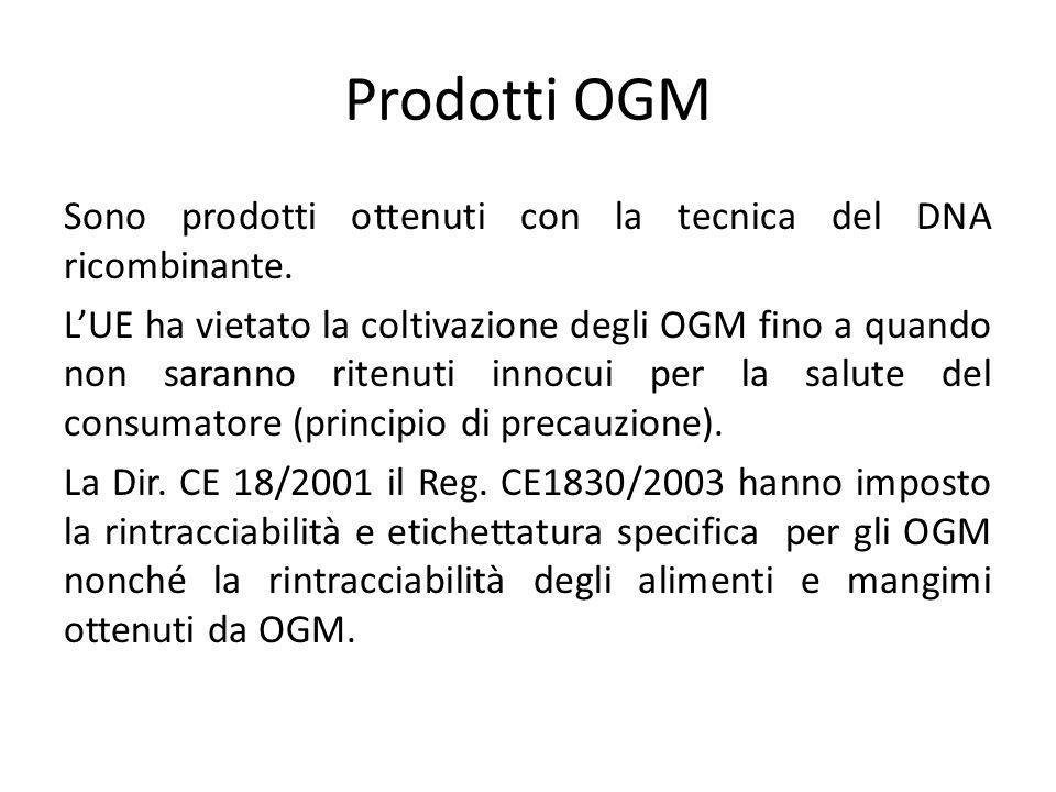 Prodotti OGM Sono prodotti ottenuti con la tecnica del DNA ricombinante. L'UE ha vietato la coltivazione degli OGM fino a quando non saranno ritenuti