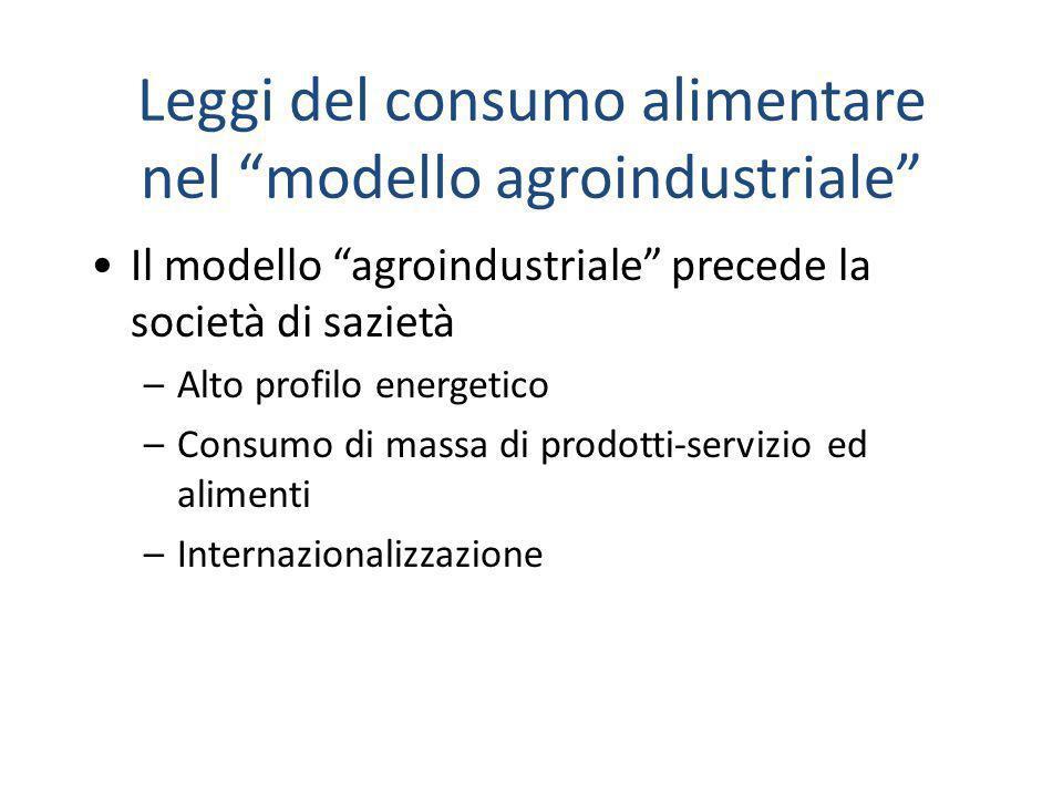 """Leggi del consumo alimentare nel """"modello agroindustriale"""" Il modello """"agroindustriale"""" precede la società di sazietà –Alto profilo energetico –Consum"""