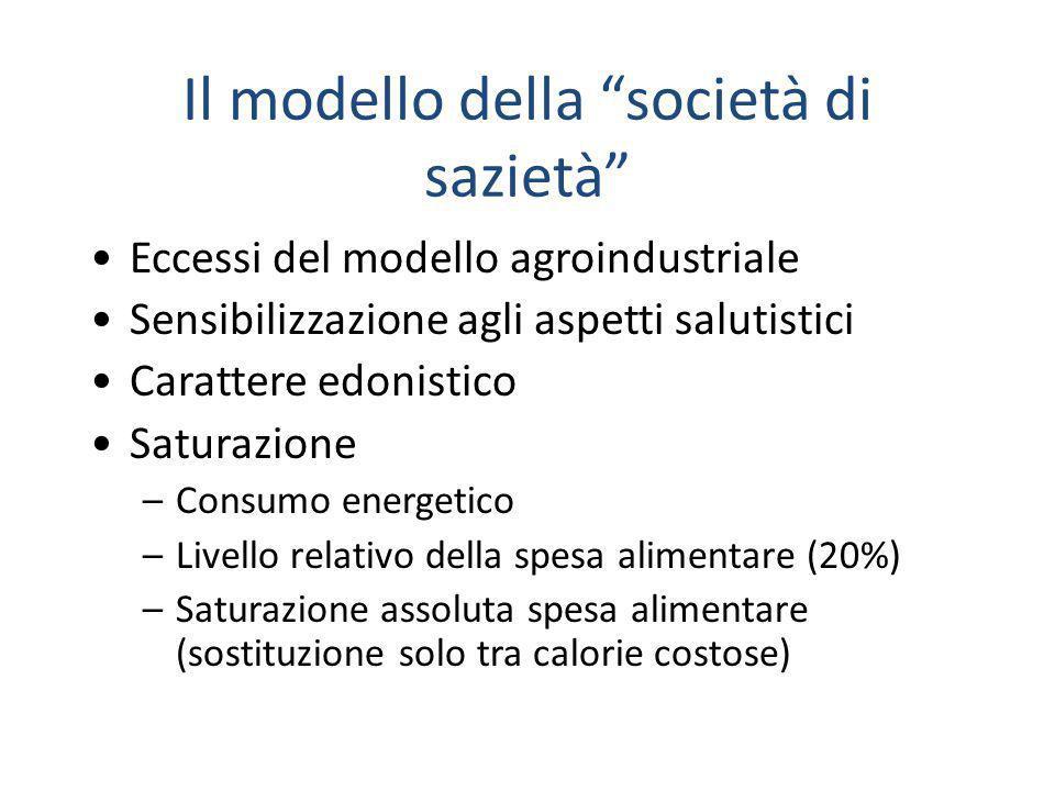 """Il modello della """"società di sazietà"""" Eccessi del modello agroindustriale Sensibilizzazione agli aspetti salutistici Carattere edonistico Saturazione"""