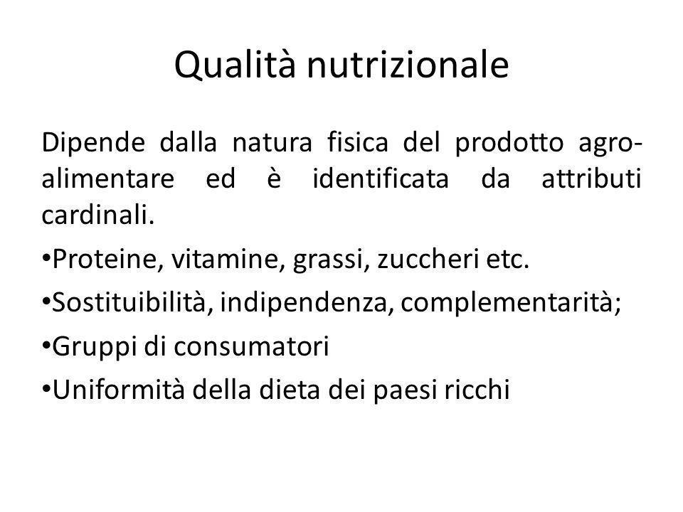 Qualità nutrizionale Dipende dalla natura fisica del prodotto agro- alimentare ed è identificata da attributi cardinali. Proteine, vitamine, grassi, z