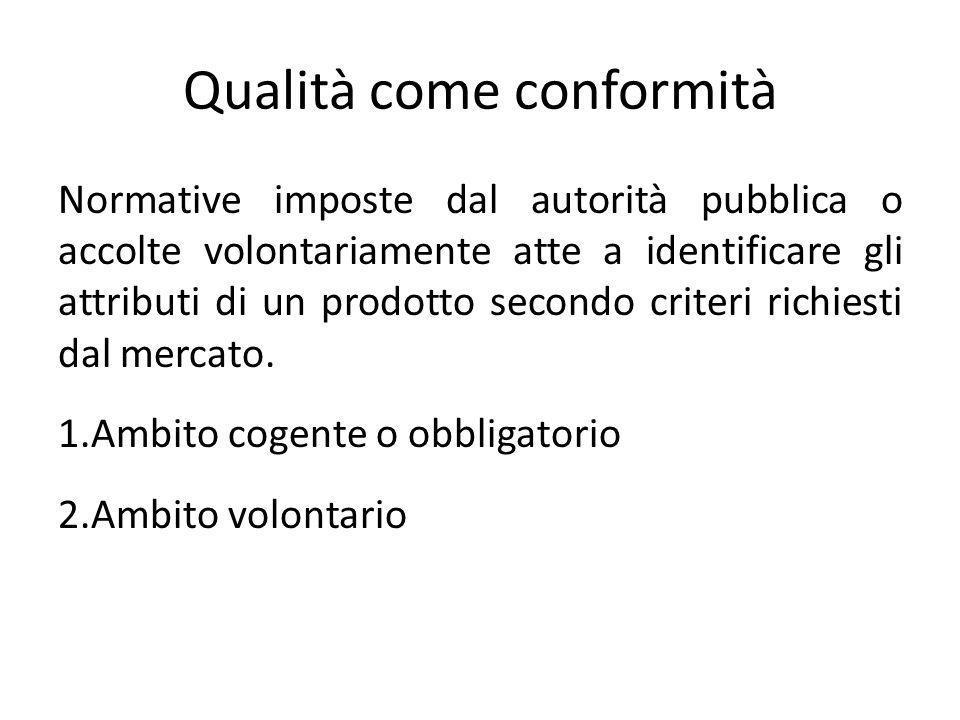 Qualità come conformità Normative imposte dal autorità pubblica o accolte volontariamente atte a identificare gli attributi di un prodotto secondo cri