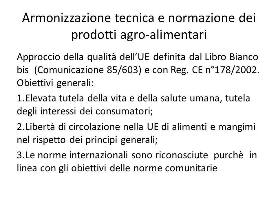 Armonizzazione tecnica e normazione dei prodotti agro-alimentari Approccio della qualità dell'UE definita dal Libro Bianco bis (Comunicazione 85/603)