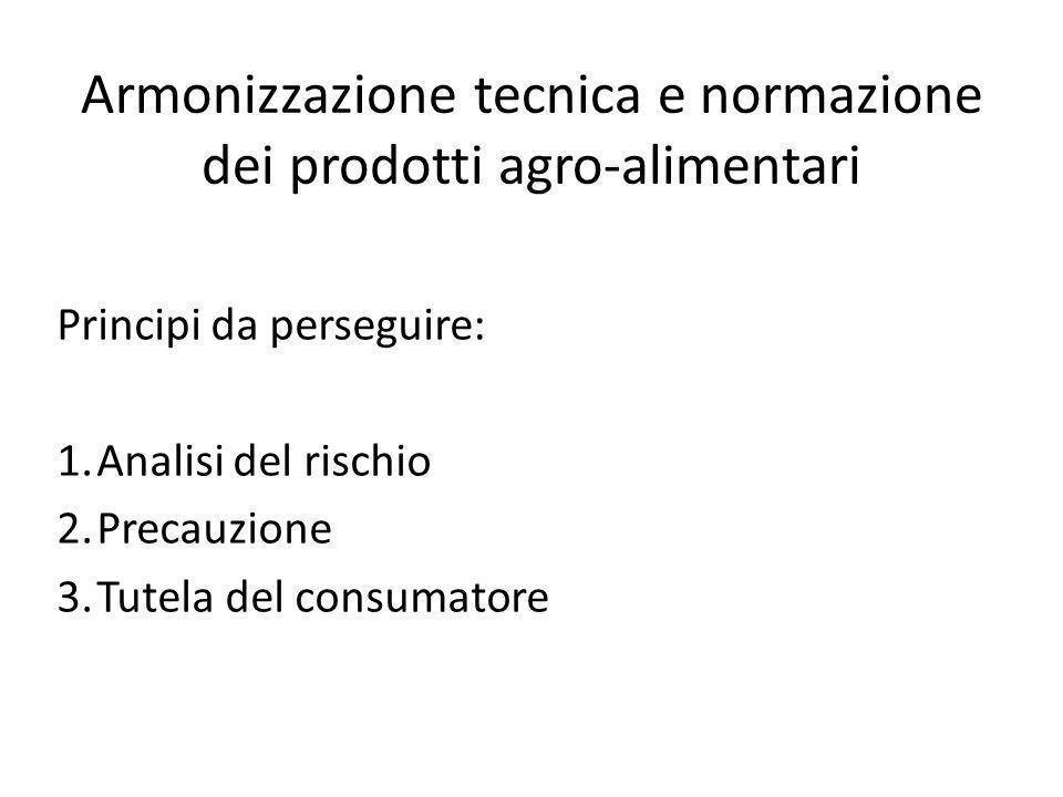 Armonizzazione tecnica e normazione dei prodotti agro-alimentari Principi da perseguire: 1.Analisi del rischio 2.Precauzione 3.Tutela del consumatore