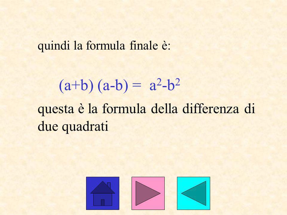 quindi la formula finale è: (a+b) (a-b) = a 2 -b 2 questa è la formula della differenza di due quadrati