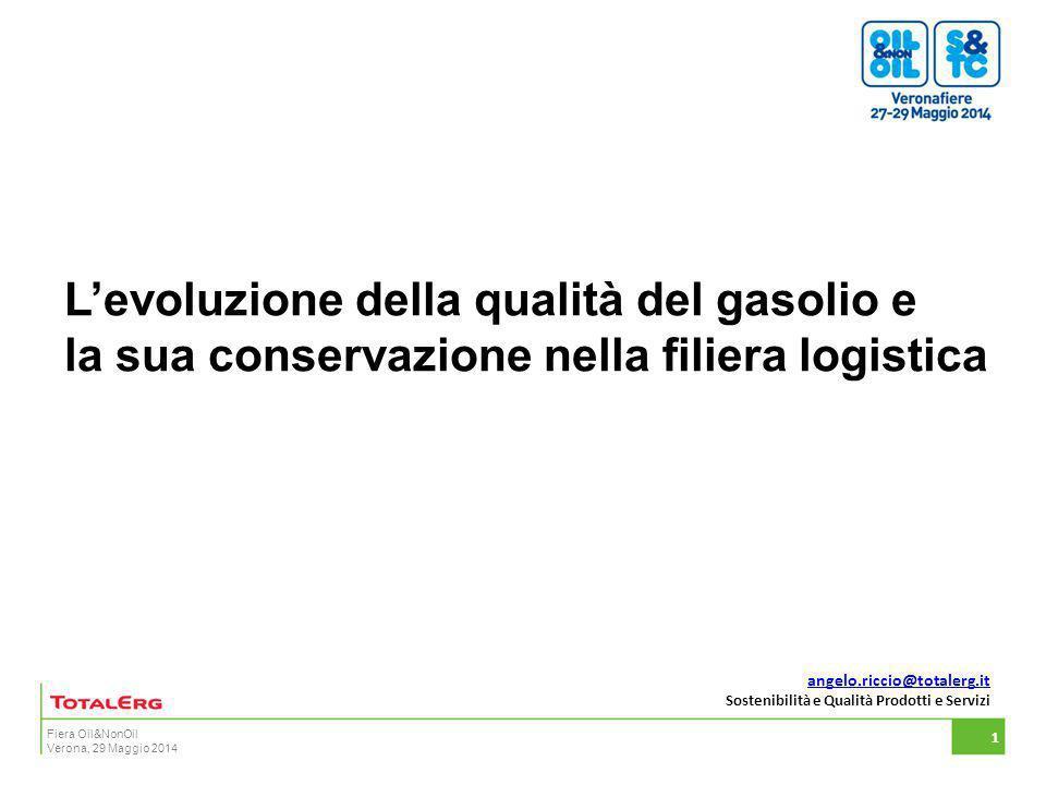 Fiera Oil&NonOil Verona, 29 Maggio 2014 L'evoluzione della qualità del gasolio e la sua conservazione nella filiera logistica 1 angelo.riccio@totalerg